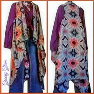GROOVY GLAM Handmade Aztec Waterfall Duster Vest